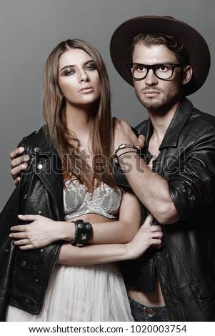 Beautiful fashionable couple dressed in casual clothes. Beauty, fashion.  #1020003754