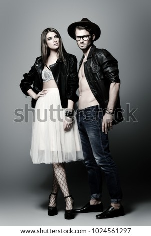 Beautiful fashionable couple dressed in casual clothes. Beauty, fashion.  #1024561297
