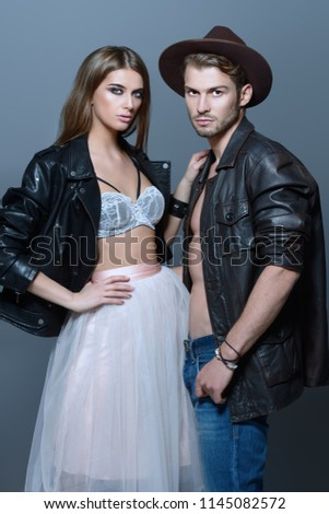 Beautiful fashionable couple dressed in casual clothes. Beauty, fashion.  #1145082572