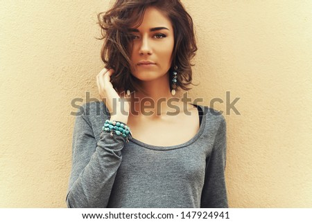 beautiful fashionable woman close-up