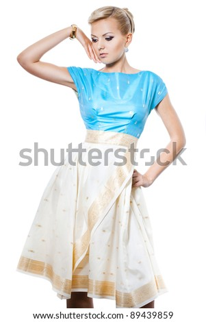 beautiful fashionable woman in a dress