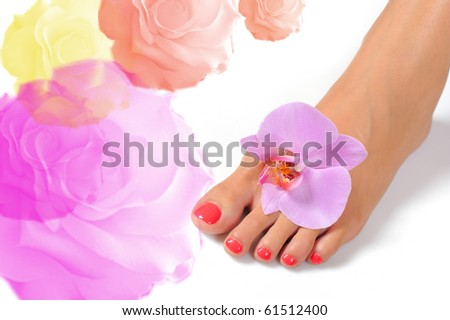 stock photo Beautiful feet leg with perfect spa pedicure on bright pink