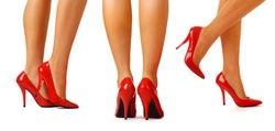 Beautiful femal legs in red heels