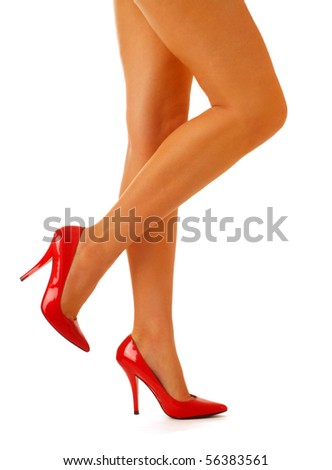 Beautiful femal legs in red heels