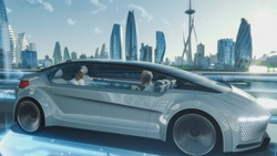 Beautiful Female and Senior Man are Having a Conversation in a Driverless Autonomous Vehicle. Futuristic Self-Driving Van is Moving on a Public Highway in a Modern City with Glass Skyscrapers.