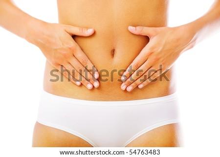 Beautiful female body. Isolated over white background.