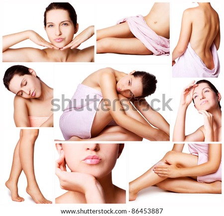 beautiful female body on white - stock photo