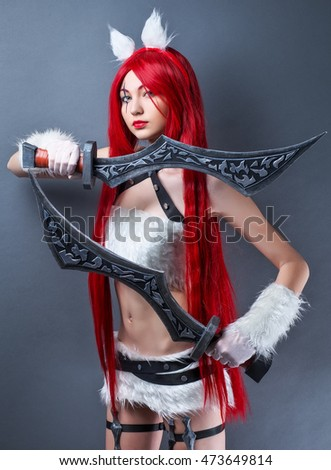 Beautiful female character with two swords on gray background