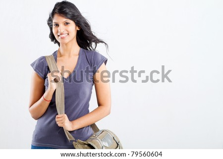 beautiful female college student with a shoulder bag