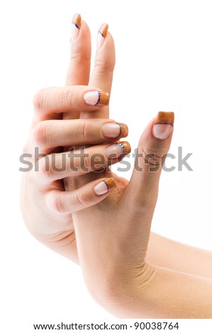 beautiful female colored fingernails isolated on white ground
