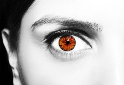 Beautiful female eye roman numerals bio clock.