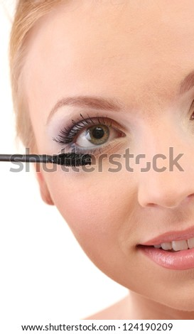 beautiful female eye with bright winter make-up