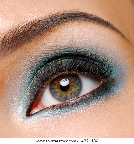 Beautiful female eye with fashion ceremonial makeup