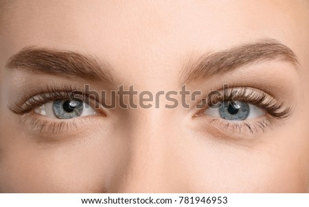 Beautiful female eyes with long eyelashes, closeup - Shutterstock ID 781946953
