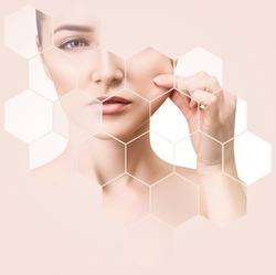 Beautiful female face in honeycombs. Spa and face lifting concept. Beige background.