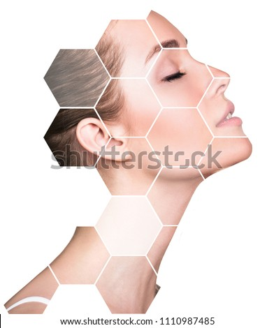 Beautiful female face in honeycombs. Spa and face lifting concept. Isolated on white. #1110987485