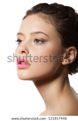 beautiful female face in profile with Makeup and Hairstyle