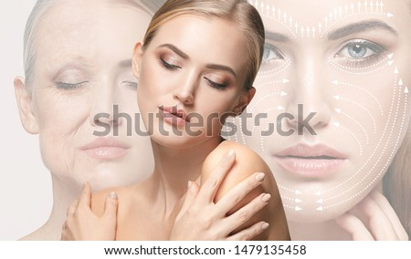 Beautiful female face isolated on white background. Concept of bodycare, cosmetics, skincare and lifting, correction surgery, beauty and perfect skin. Comparison - old and young. Antiaging.