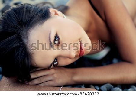 Beautiful female face, sexy model closeup portrait