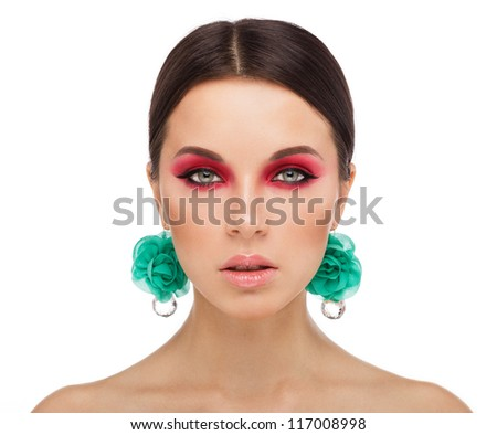 beautiful female face with bright makeup