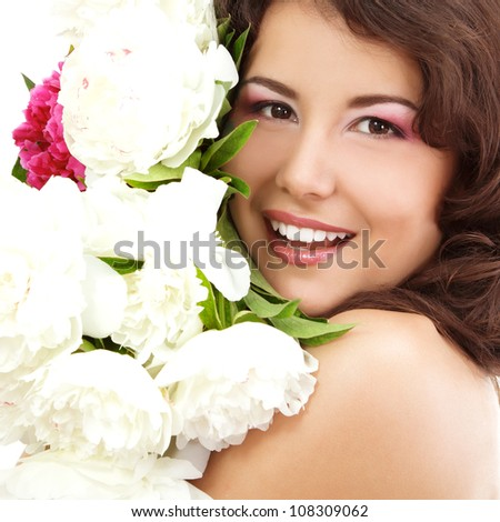 beautiful female face with flowers peony isolated on white background