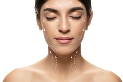 Beautiful female face with lifting up arrows isolated on white background. Concept of bodycare, cosmetics, skincare, correction surgery, beauty and perfect skin. Flyer for your ad. Antiaging.