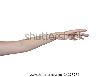 beautiful female hand and arm isolated on white - stock photo