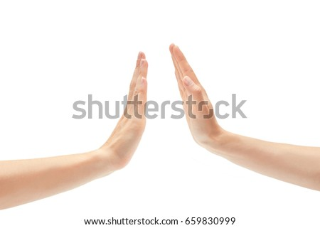 Beautiful female hand greeting high five gesture. Isolated on white background #659830999
