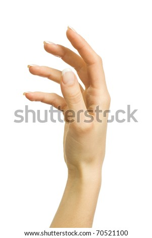 Beautiful female hand on a white background
