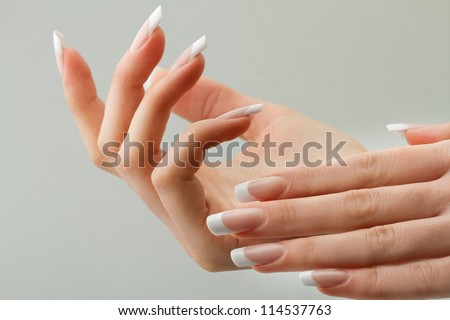 Beautiful Female Hands.Manicure concept - stock photo