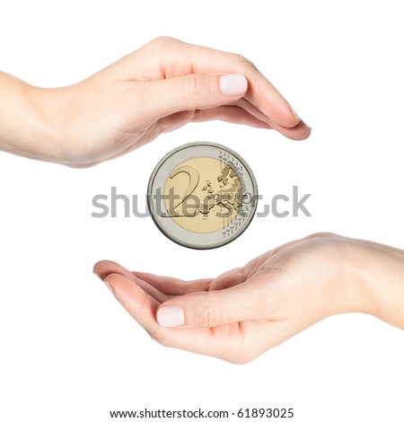 Beautiful female hands protecting euro coin, isolated on white background