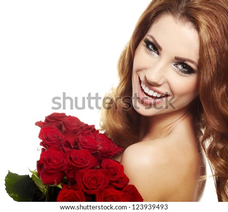 Beautiful female holding red roses bouquet, valentines day.