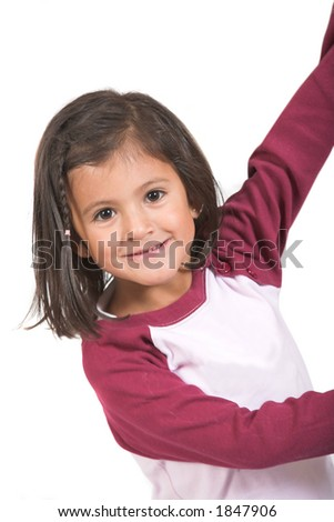 beautiful female kid smiling over white
