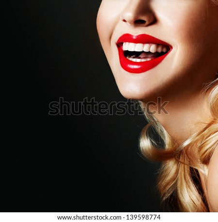 Beautiful female lips with red lipstick