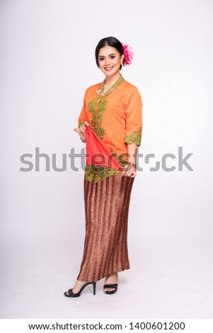Portrait Of A Malay Woman With Kebaya On White Background Images And