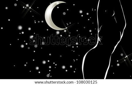 Beautiful female profile lighted in the night with moon and stars