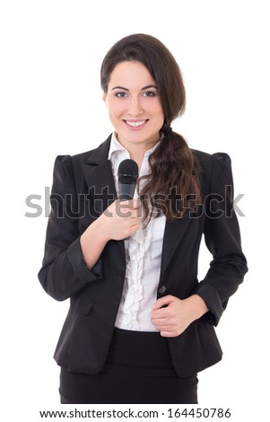 beautiful female reporter with microphone isolated on white background