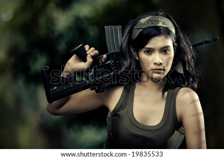 beautiful female soldier