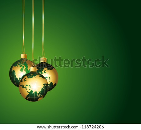 Beautiful festive background with colorful green globes ornaments.