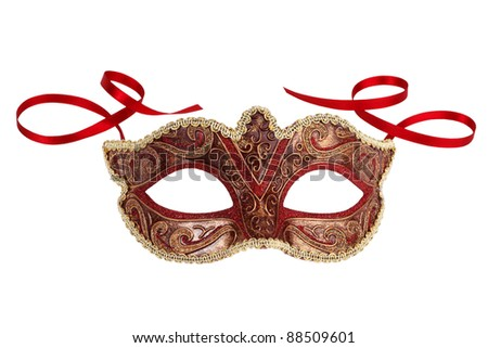 Beautiful festive carnival mask with ribbons on white background