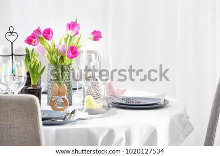 Beautiful festive Easter table setting