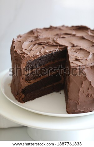 beautiful festive irresistible rich chocolate layers devil's food cake with velvety chocolate frosting on white stand against white background. Copy Space. Birthday, Holiday Special occasions dessert Stock photo ©