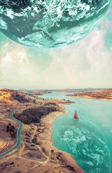Beautiful fiction book cover design. Unreal fantasy landscape of sailboat sailing across a river on alien planet. Elements of this image furnished by NASA