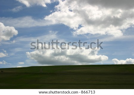 Beautiful field and blue cloudy sky.