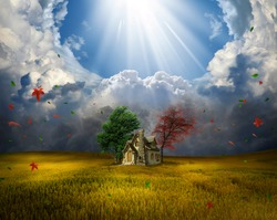 Beautiful field with a small cottage. Photomanipulation.