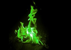 Beautiful fire green flames on a black background.Green fire flames abstract on black background.green flame fire on black background.