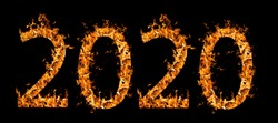 Beautiful fire numbers 2020 with sparks on a black background