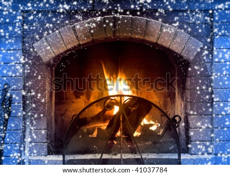 Beautiful fireplace in cold winter day