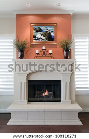Beautiful Fireplace with a Fire and Art