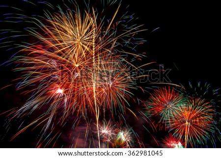 beautiful firework display for celebration happy new year 2016 bangkok countdown beautiful backdrop and lighting of famous bangkok landmark at wat arun